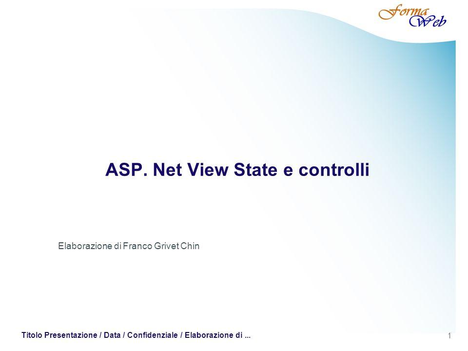1 Titolo Presentazione / Data / Confidenziale / Elaborazione di... ASP. Net View State e controlli Elaborazione di Franco Grivet Chin