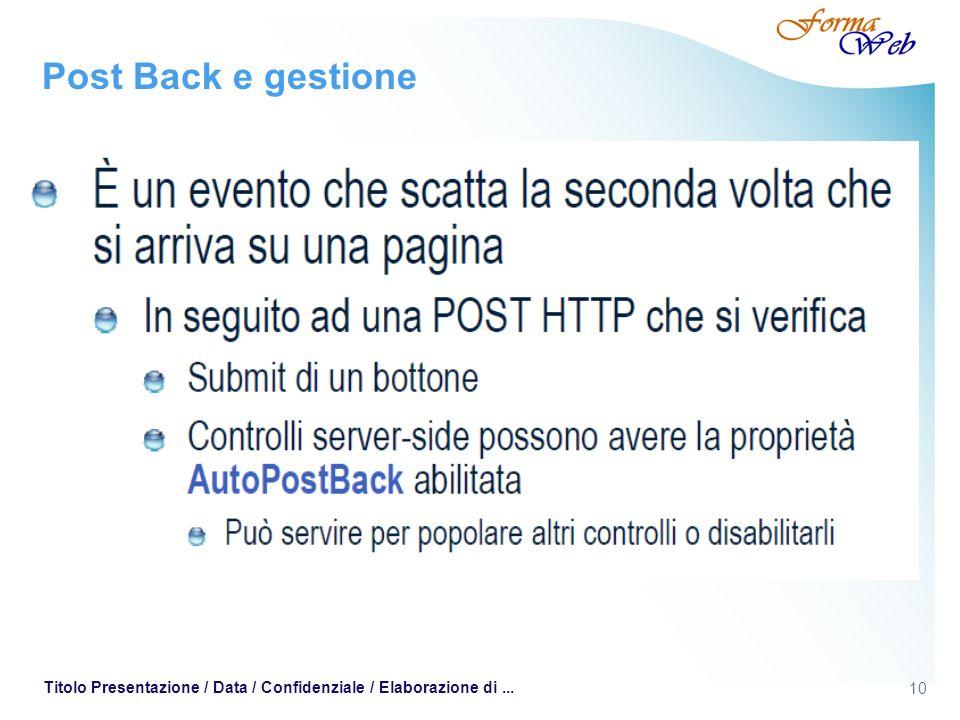 10 Titolo Presentazione / Data / Confidenziale / Elaborazione di... Post Back e gestione