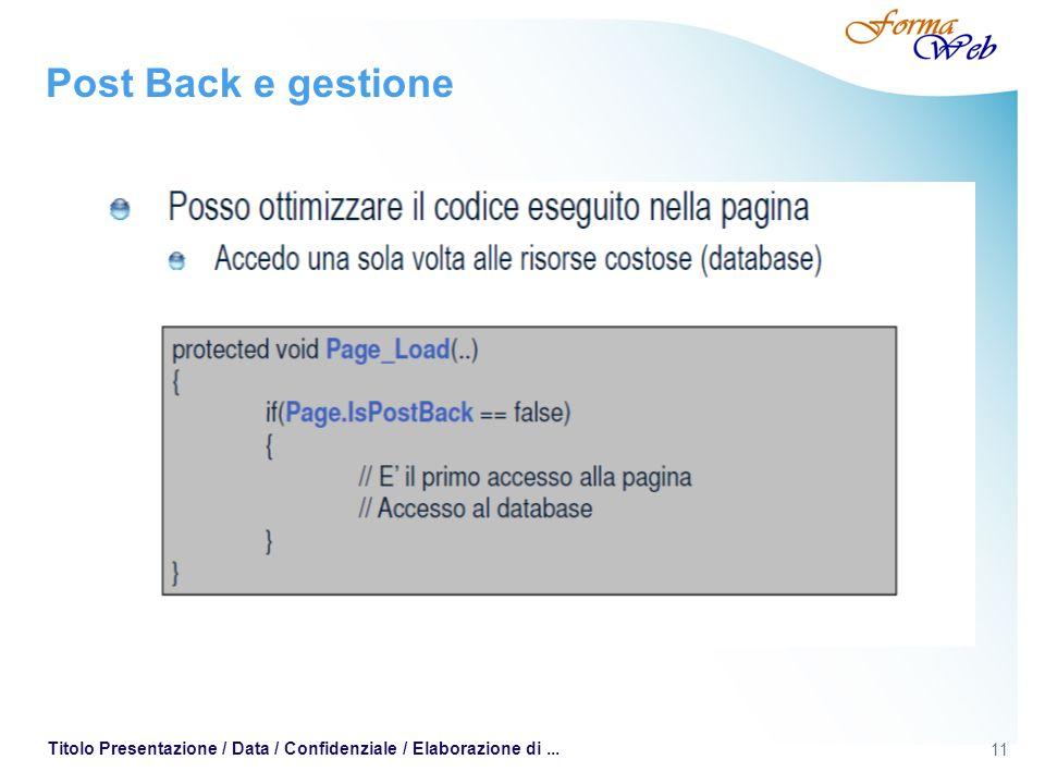 11 Titolo Presentazione / Data / Confidenziale / Elaborazione di... Post Back e gestione