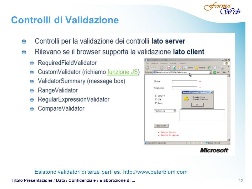 12 Titolo Presentazione / Data / Confidenziale / Elaborazione di... Controlli di Validazione Esistono validatori di terze parti es. http://www.peterbl