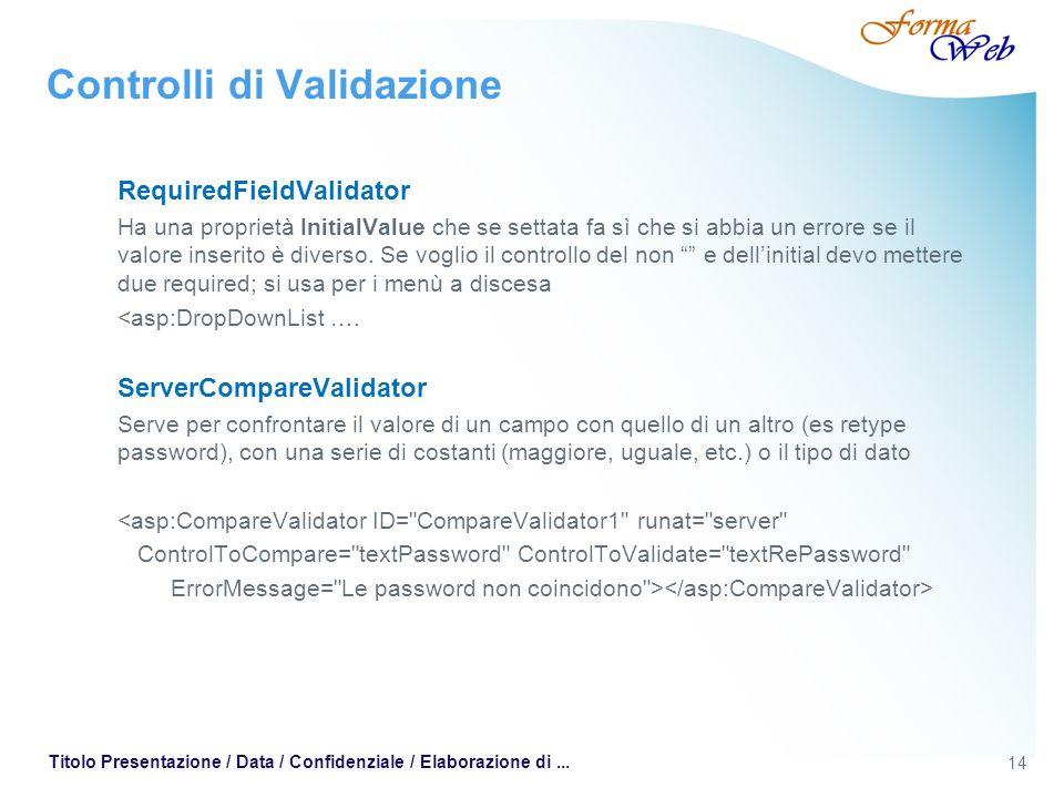 14 Titolo Presentazione / Data / Confidenziale / Elaborazione di... Controlli di Validazione RequiredFieldValidator Ha una proprietà InitialValue che