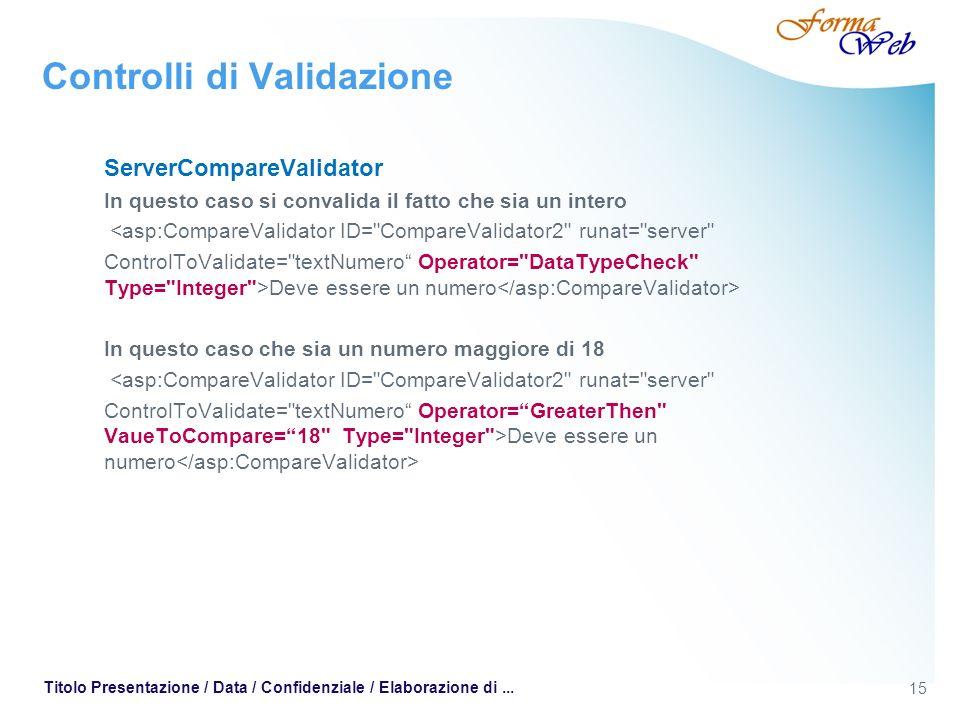 15 Titolo Presentazione / Data / Confidenziale / Elaborazione di... Controlli di Validazione ServerCompareValidator In questo caso si convalida il fat