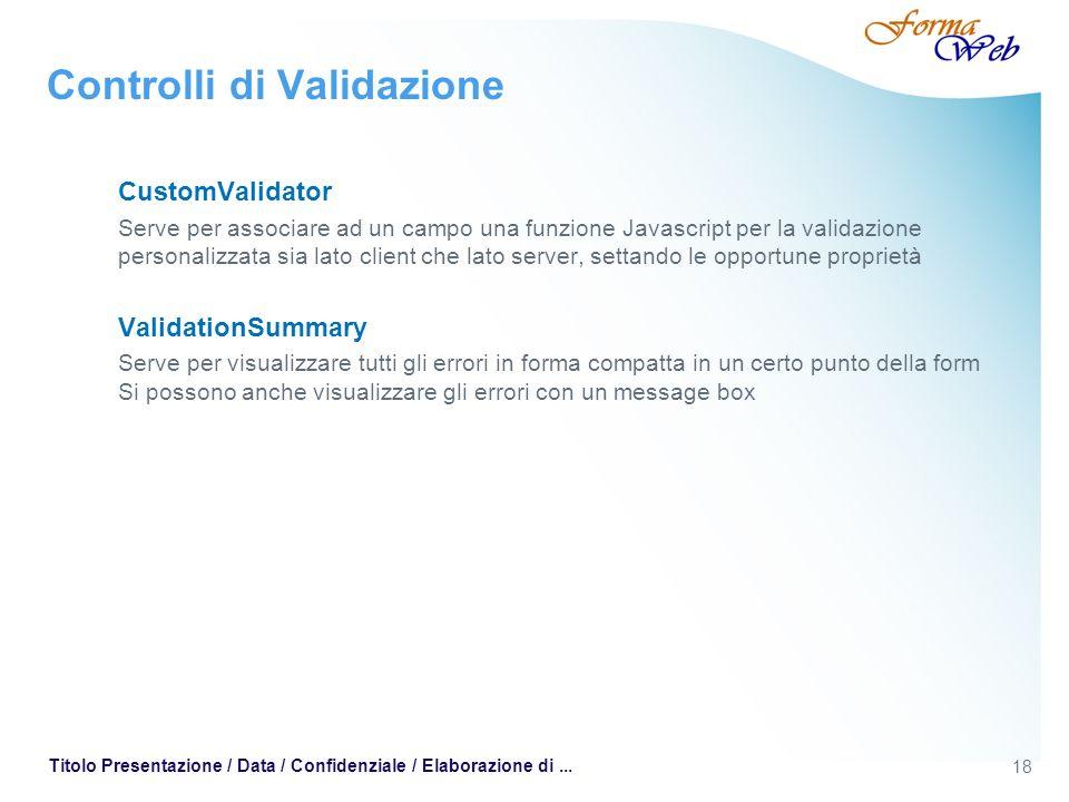 18 Titolo Presentazione / Data / Confidenziale / Elaborazione di... Controlli di Validazione CustomValidator Serve per associare ad un campo una funzi
