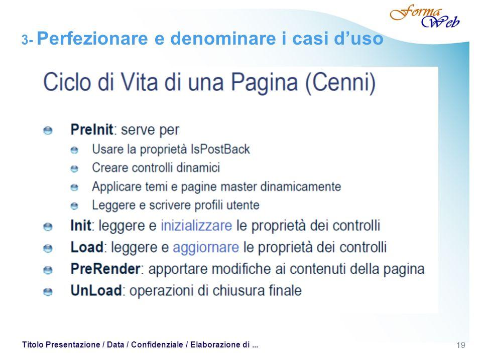 19 Titolo Presentazione / Data / Confidenziale / Elaborazione di... 3- Perfezionare e denominare i casi duso