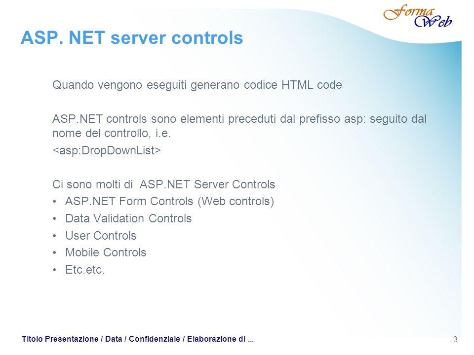 3 Titolo Presentazione / Data / Confidenziale / Elaborazione di... ASP. NET server controls Quando vengono eseguiti generano codice HTML code ASP.NET