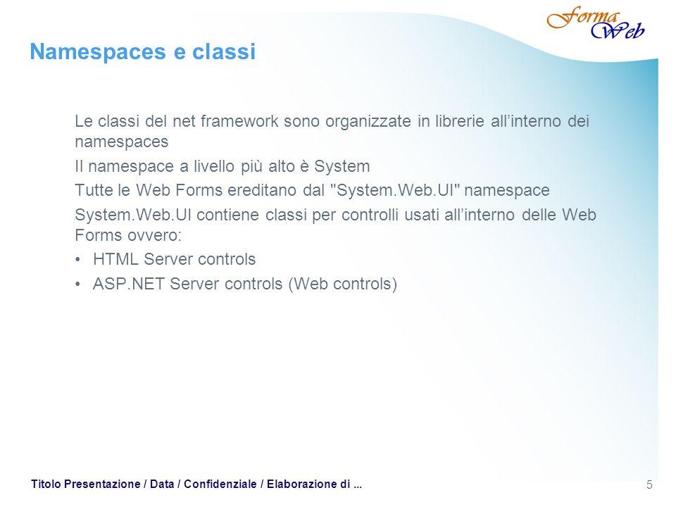 5 Titolo Presentazione / Data / Confidenziale / Elaborazione di... Namespaces e classi Le classi del net framework sono organizzate in librerie allint