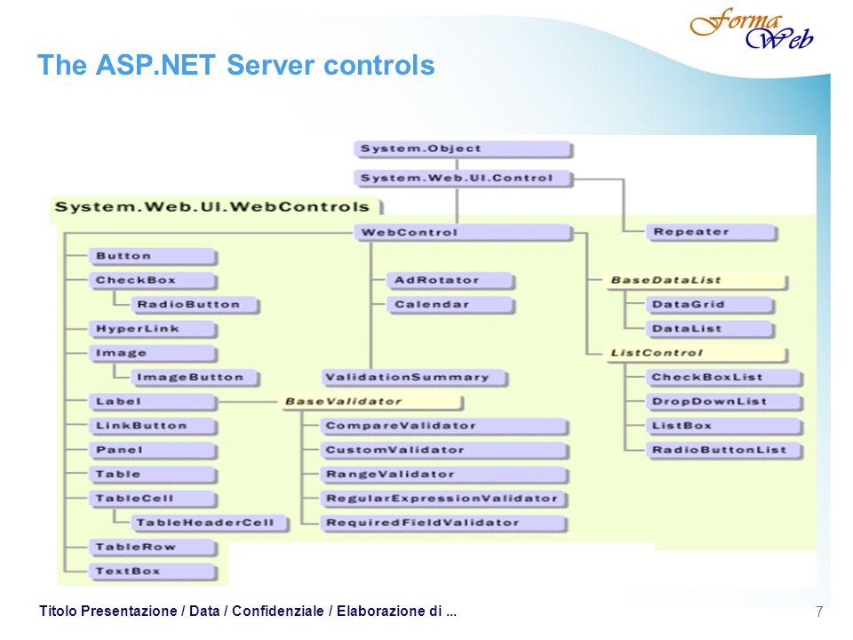 7 Titolo Presentazione / Data / Confidenziale / Elaborazione di... The ASP.NET Server controls