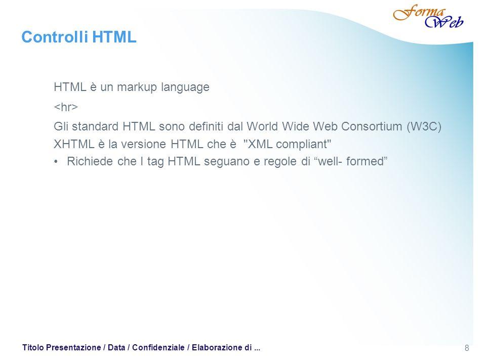 8 Titolo Presentazione / Data / Confidenziale / Elaborazione di... Controlli HTML HTML è un markup language Gli standard HTML sono definiti dal World
