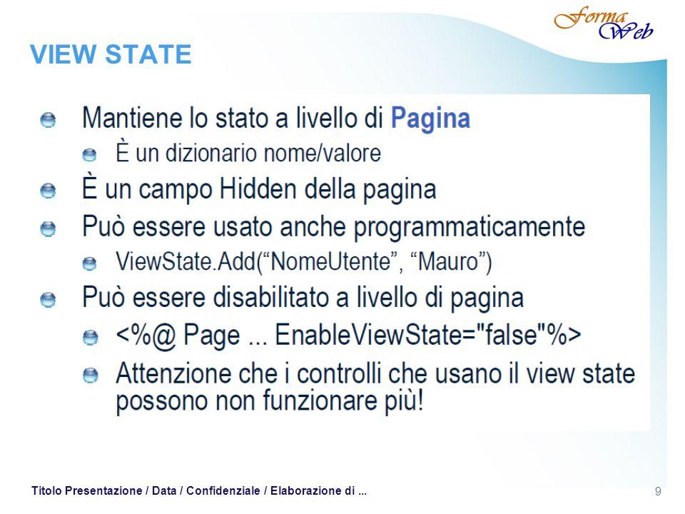 9 Titolo Presentazione / Data / Confidenziale / Elaborazione di... VIEW STATE
