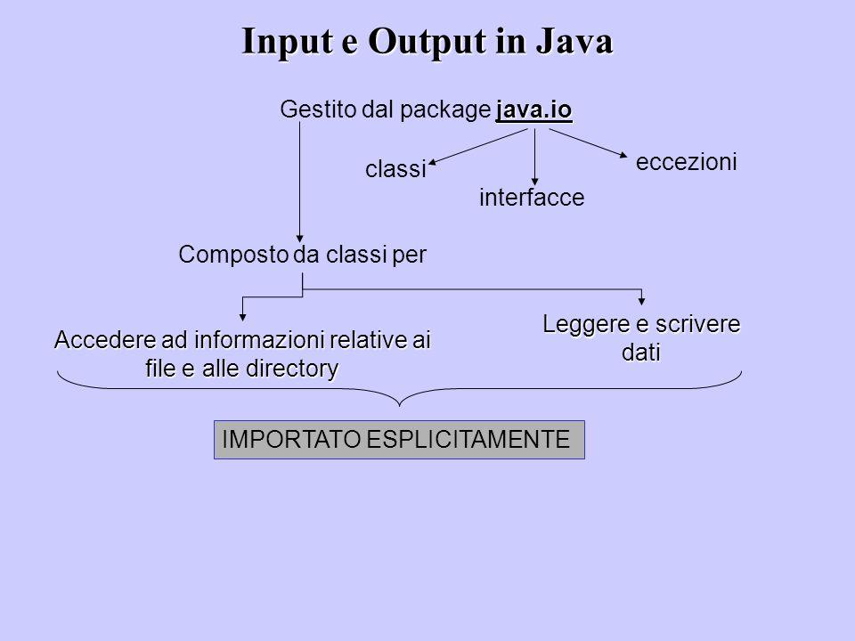 Input e Output in Java java.io Gestito dal package java.io classi interfacce eccezioni Composto da classi per Accedere ad informazioni relative ai file e alle directory Leggere e scrivere dati IMPORTATO ESPLICITAMENTE