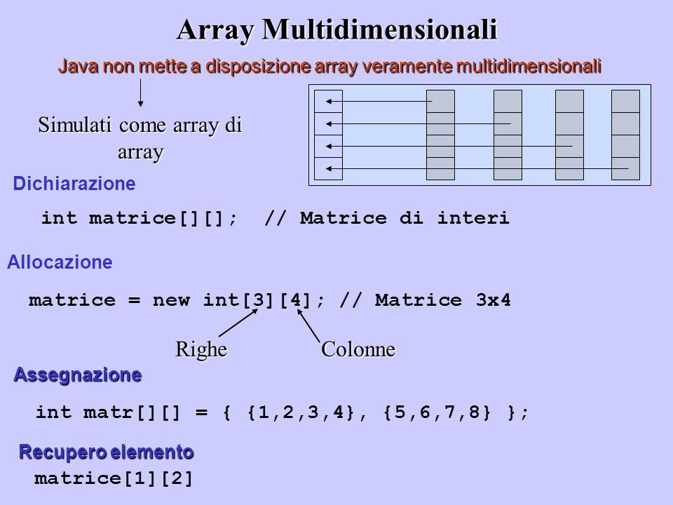 Array Multidimensionali Java non mette a disposizione array veramente multidimensionali Simulati come array di array int matrice[][]; // Matrice di in