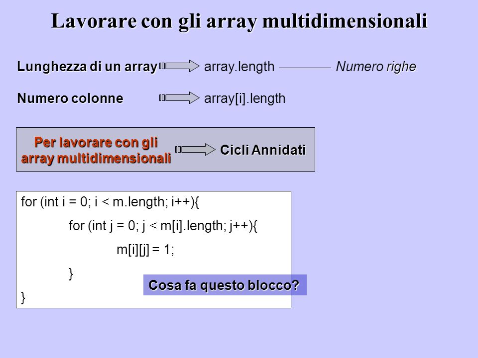 Lavorare con gli array multidimensionali Lunghezza di un array array.length righe Numero righe Numero colonne array[i].length Per lavorare con gli array multidimensionali Cicli Annidati for (int i = 0; i < m.length; i++){ for (int j = 0; j < m[i].length; j++){ m[i][j] = 1; } Cosa fa questo blocco?