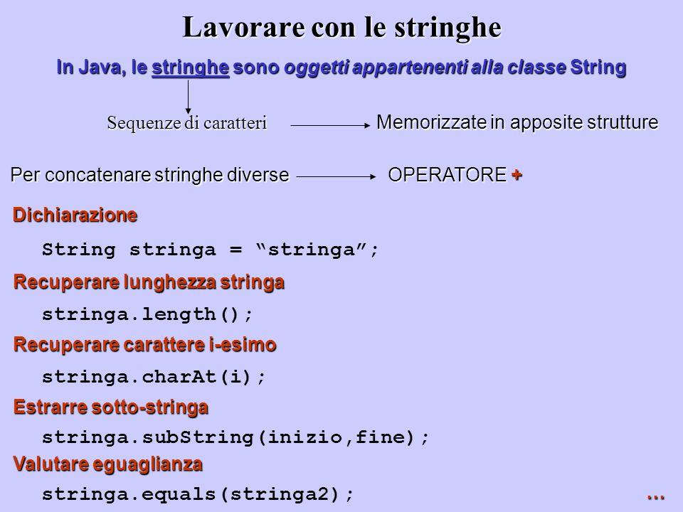 Lavorare con le stringhe In Java, le stringhe sono oggetti appartenenti alla classe String Sequenze di caratteri Per concatenare stringhe diverse OPER