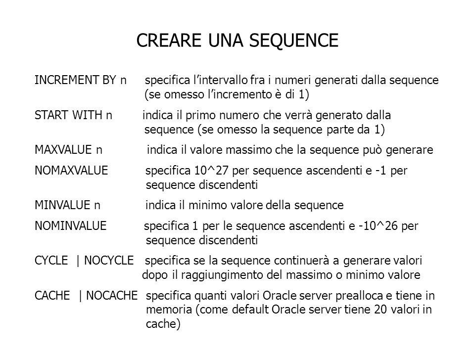 CREARE UNA SEQUENCE Creare una sequenza DEPT_DEPTID_SEQ che deve essere usata come chiave primaria della tabella DEPARTMENTS.