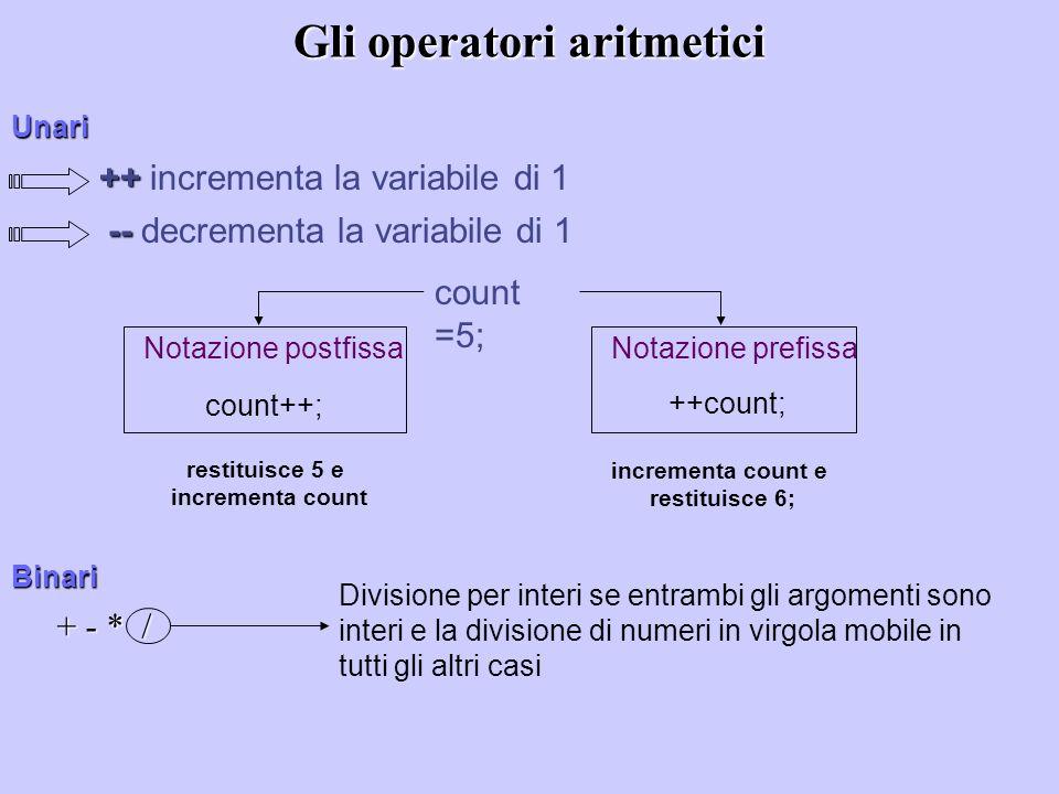 Gli operatori aritmetici + - * / Divisione per interi se entrambi gli argomenti sono interi e la divisione di numeri in virgola mobile in tutti gli al