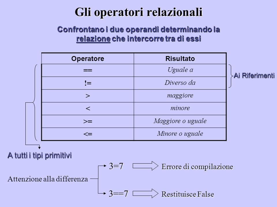 Gli operatori relazionali Confrontano i due operandi determinando la relazione che intercorre tra di essi OperatoreRisultato == Uguale a != Diverso da