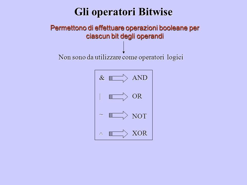 Gli operatori Bitwise Permettono di effettuare operazioni booleane per ciascun bit degli operandi Non sono da utilizzare come operatori logici & | ^ ~