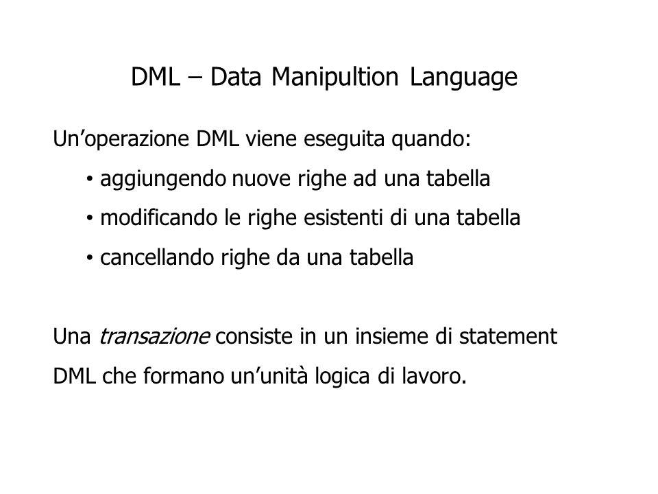 DML – Data Manipultion Language Unoperazione DML viene eseguita quando: aggiungendo nuove righe ad una tabella modificando le righe esistenti di una tabella cancellando righe da una tabella Una transazione consiste in un insieme di statement DML che formano ununità logica di lavoro.
