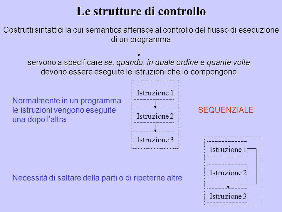 Le strutture di controllo Costrutti sintattici la cui semantica afferisce al controllo del flusso di esecuzione di un programma servono a specificare