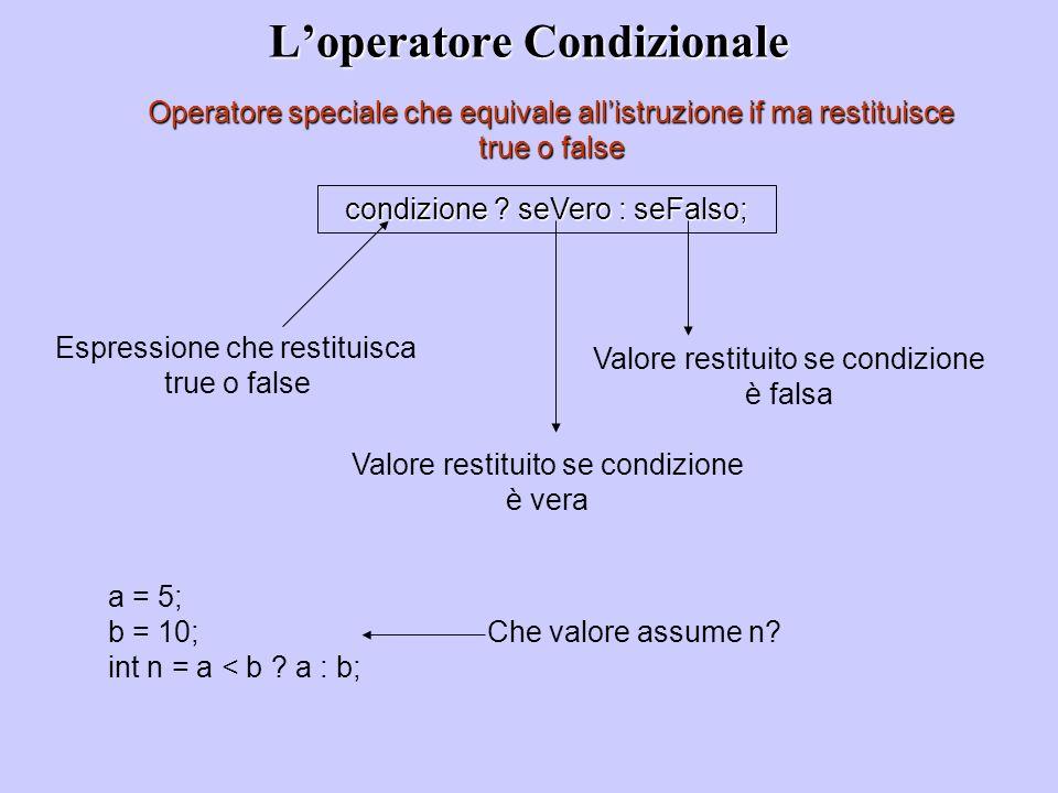 Loperatore Condizionale Operatore speciale che equivale allistruzione if ma restituisce true o false condizione ? seVero : seFalso; Espressione che re
