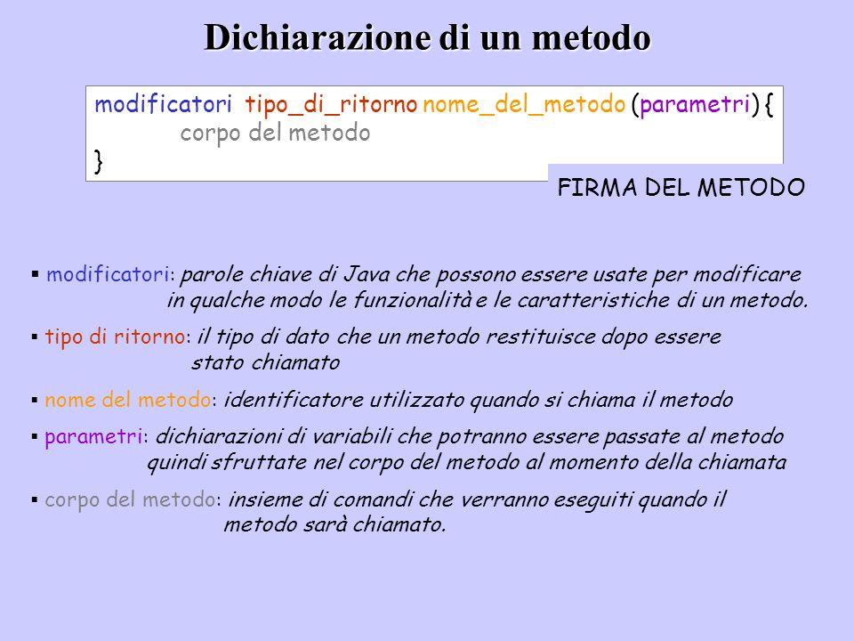 Dichiarazione di un metodo modificatori tipo_di_ritorno nome_del_metodo (parametri) { corpo del metodo } modificatori : parole chiave di Java che poss