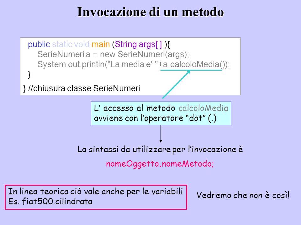 Invocazione di un metodo public static void main (String args[ ] ){ SerieNumeri a = new SerieNumeri(args); System.out.println(