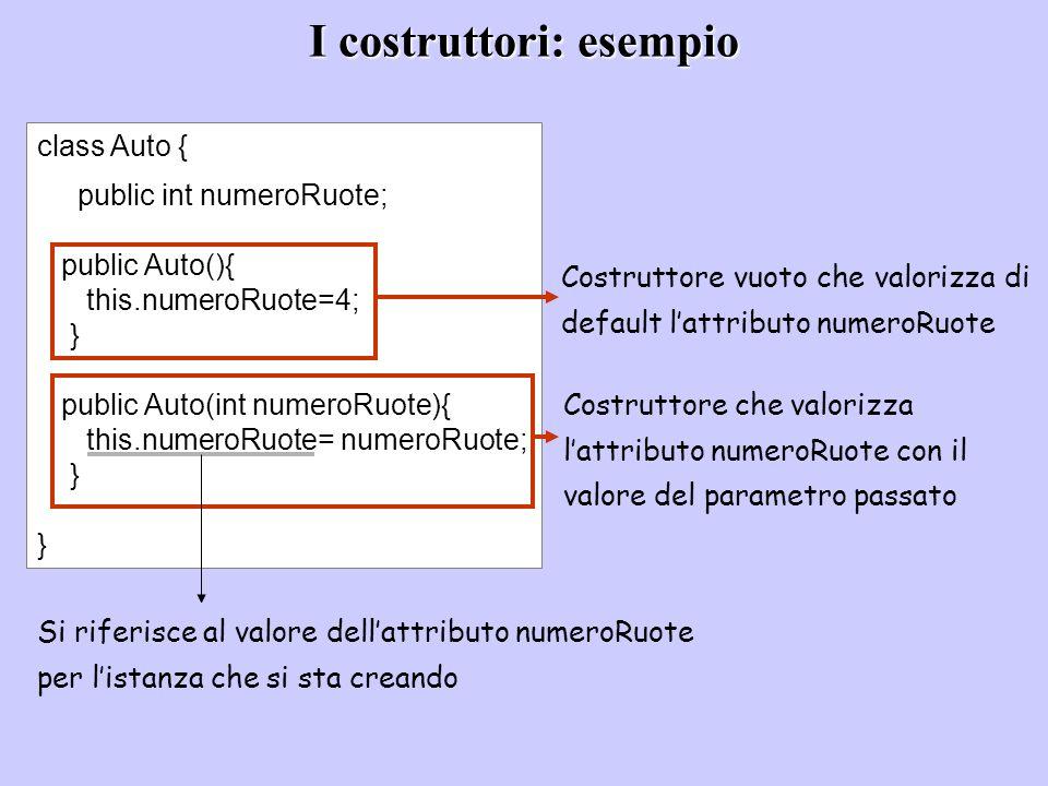 I costruttori: esempio class Auto { public int numeroRuote; public Auto(){ this.numeroRuote=4; } public Auto(int numeroRuote){ this.numeroRuote= numer