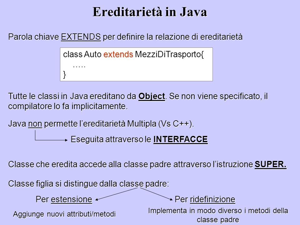 Ereditarietà in Java Parola chiave EXTENDS per definire la relazione di ereditarietà extends class Auto extends MezziDiTrasporto{ ….. } Tutte le class
