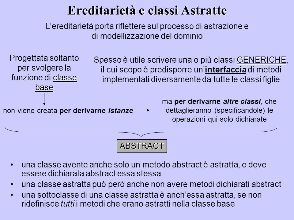 Ereditarietà e classi Astratte una classe avente anche solo un metodo abstract è astratta, e deve essere dichiarata abstract essa stessa una classe as
