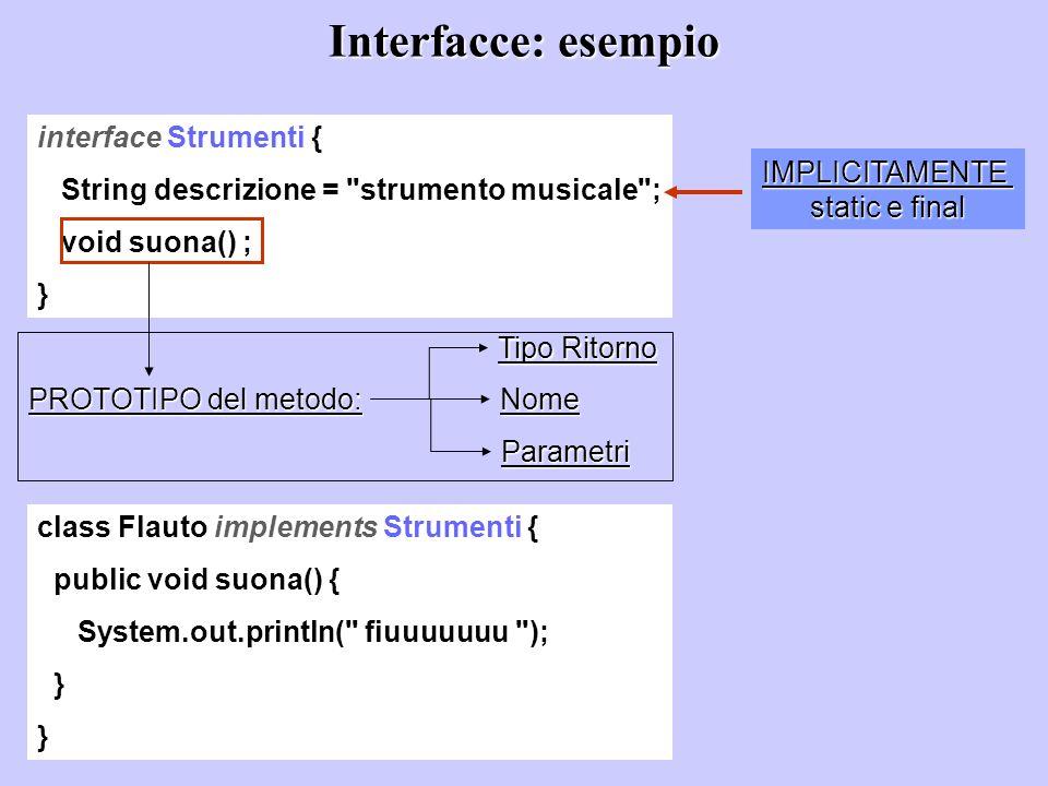 Interfacce: esempio interface Strumenti { String descrizione =