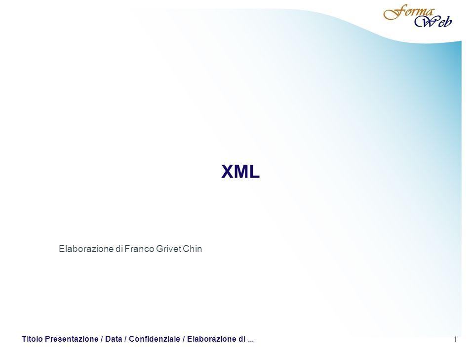 XML - XSLT Blocco di testo del primo paragrafo Per individuare lelemento allinterno del nostro esempio di documento XML dobbiamo specificare un percorso di questo tipo: /articolo/paragrafo/testo Se siamo interessati allattributo titolo dellelemento possiamo specificarlo nel modo seguente: /articolo/paragrafo/@titolo 32 Titolo Presentazione / Data / Confidenziale / Elaborazione di...