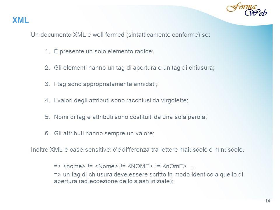 XML Un documento XML è well formed (sintatticamente conforme) se: 1.È presente un solo elemento radice; 2.Gli elementi hanno un tag di apertura e un tag di chiusura; 3.I tag sono appropriatamente annidati; 4.I valori degli attributi sono racchiusi da virgolette; 5.Nomi di tag e attributi sono costituiti da una sola parola; 6.Gli attributi hanno sempre un valore; Inoltre XML è case-sensitive: cè differenza tra lettere maiuscole e minuscole.