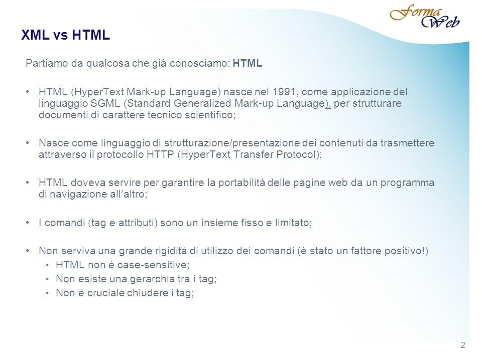 3 XML vs HTML Con HTML non si può fare tutto…è ottimo per strutturare pagine web, ma il web ospita esigenze per le quali è necessario qualcosa in più.