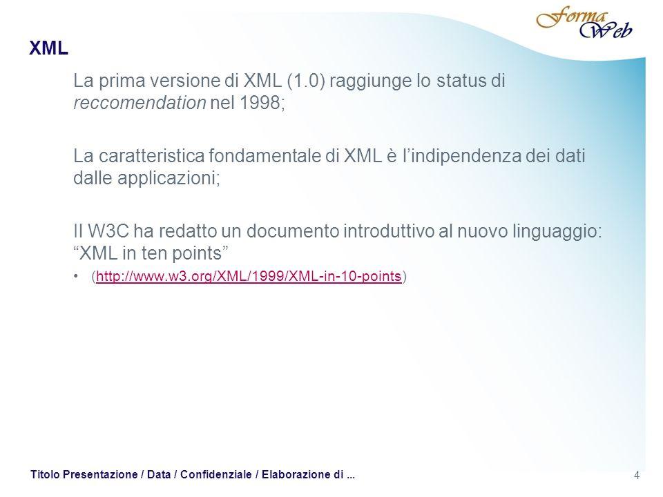XML Andrea Crevola 011-555-1234 andrea.crevola@3juice.com Mario Rossi 011-555-5678 mario.rossi@libero.it Carlo Bianchi 011-555-2468 carlo.bianchi@tin.it 15 Titolo Presentazione / Data / Confidenziale / Elaborazione di...