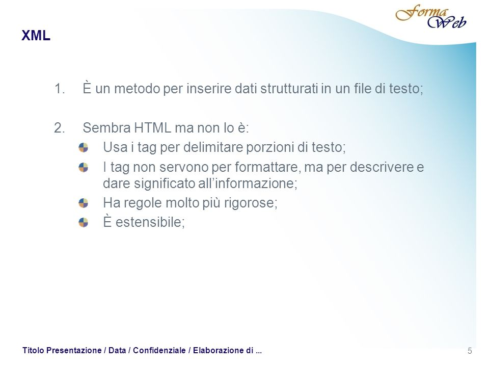 XML -DTD Esistono tre tipi di attributi: 1.CDATA: stringhe di testo (sono ammessi tutti i caratteri tranne,&, e); 2.Attributi di tipo token: lattributo ha valori limitati; 1.