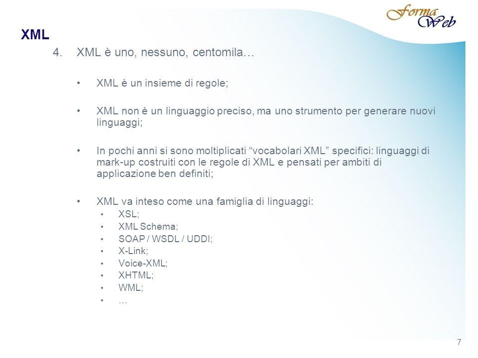 XML Le specifiche della DTD possono essere collocate in un file esterno (es.