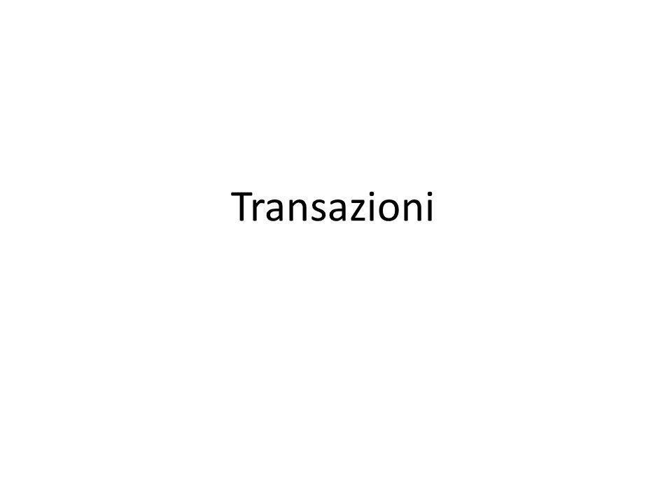 TIPI DI TRANSAZIONI DML – Data Manipulation Language un numero di DML statement che Oracle Server tratta come una singola entità DDL – Data Definition Language una singola operazione DDL (create, alter,drop, truncate) DCL – Data Control Language una singola operazione DCL (grant, revoke)