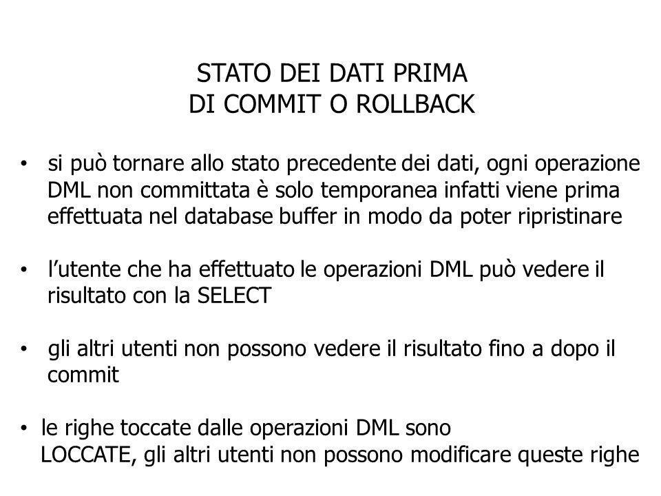 STATO DEI DATI PRIMA DI COMMIT O ROLLBACK si può tornare allo stato precedente dei dati, ogni operazione DML non committata è solo temporanea infatti