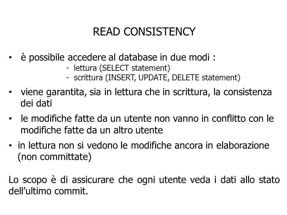 READ CONSISTENCY è possibile accedere al database in due modi : - lettura (SELECT statement) - scrittura (INSERT, UPDATE, DELETE statement) viene gara