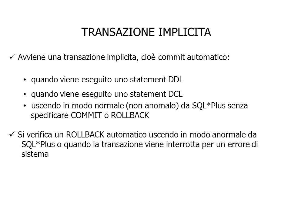 TRANSAZIONE IMPLICITA Avviene una transazione implicita, cioè commit automatico: quando viene eseguito uno statement DDL quando viene eseguito uno sta