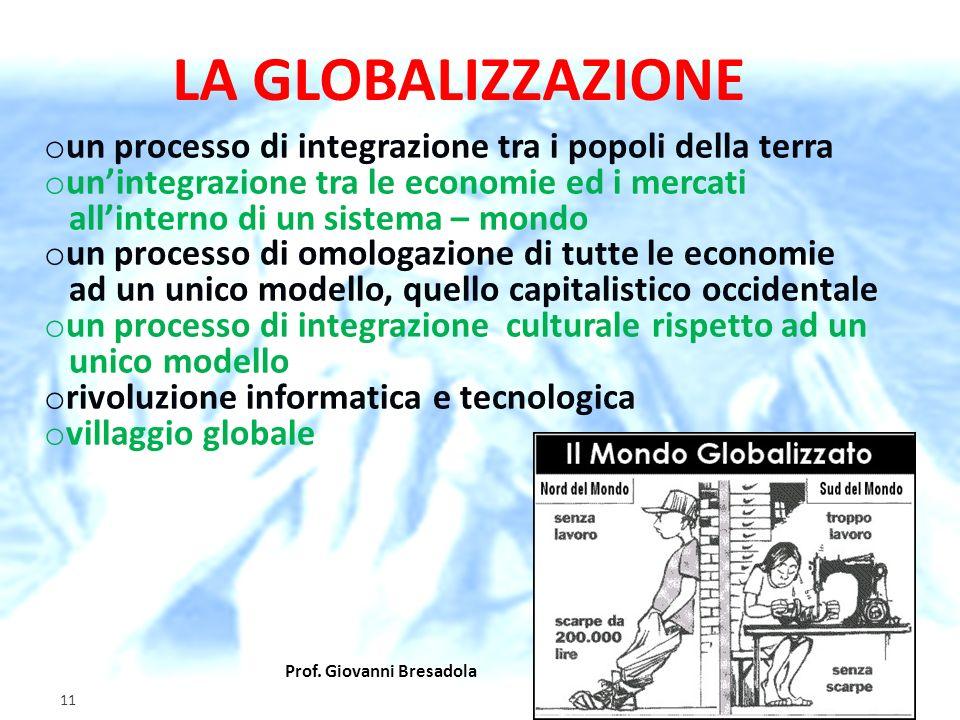 Prof. Giovanni Bresadola gennaio 2012 11 o un processo di integrazione tra i popoli della terra o unintegrazione tra le economie ed i mercati allinter