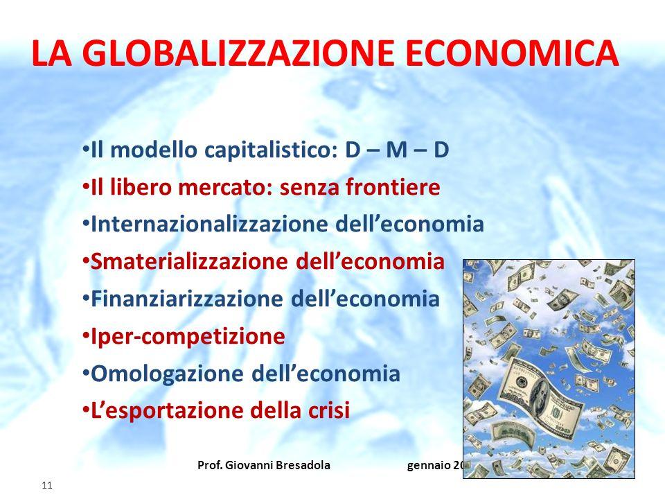 Prof. Giovanni Bresadola gennaio 2012 11 LA GLOBALIZZAZIONE ECONOMICA Il modello capitalistico: D – M – D Il libero mercato: senza frontiere Internazi