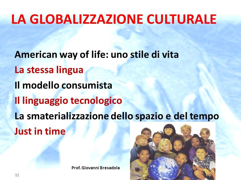 Prof. Giovanni Bresadola gennaio 2012 11 LA GLOBALIZZAZIONE CULTURALE American way of life: uno stile di vita La stessa lingua Il modello consumista I