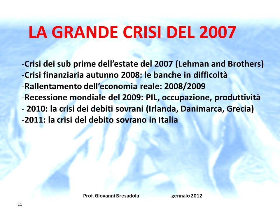 Prof. Giovanni Bresadola gennaio 2012 11 LA GRANDE CRISI DEL 2007 -Crisi dei sub prime dellestate del 2007 (Lehman and Brothers) -Crisi finanziaria au