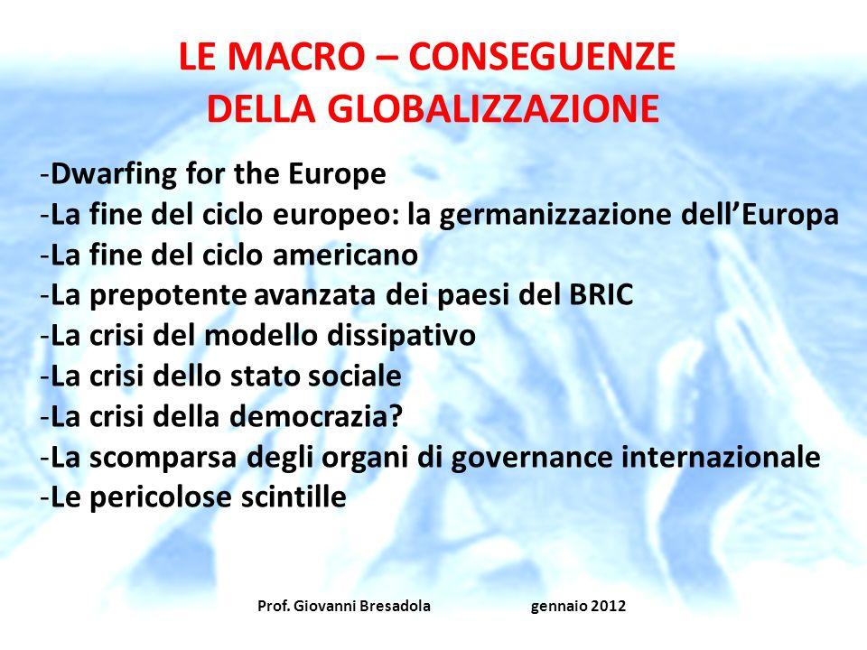 Prof. Giovanni Bresadola gennaio 2012 LE MACRO – CONSEGUENZE DELLA GLOBALIZZAZIONE -Dwarfing for the Europe -La fine del ciclo europeo: la germanizzaz