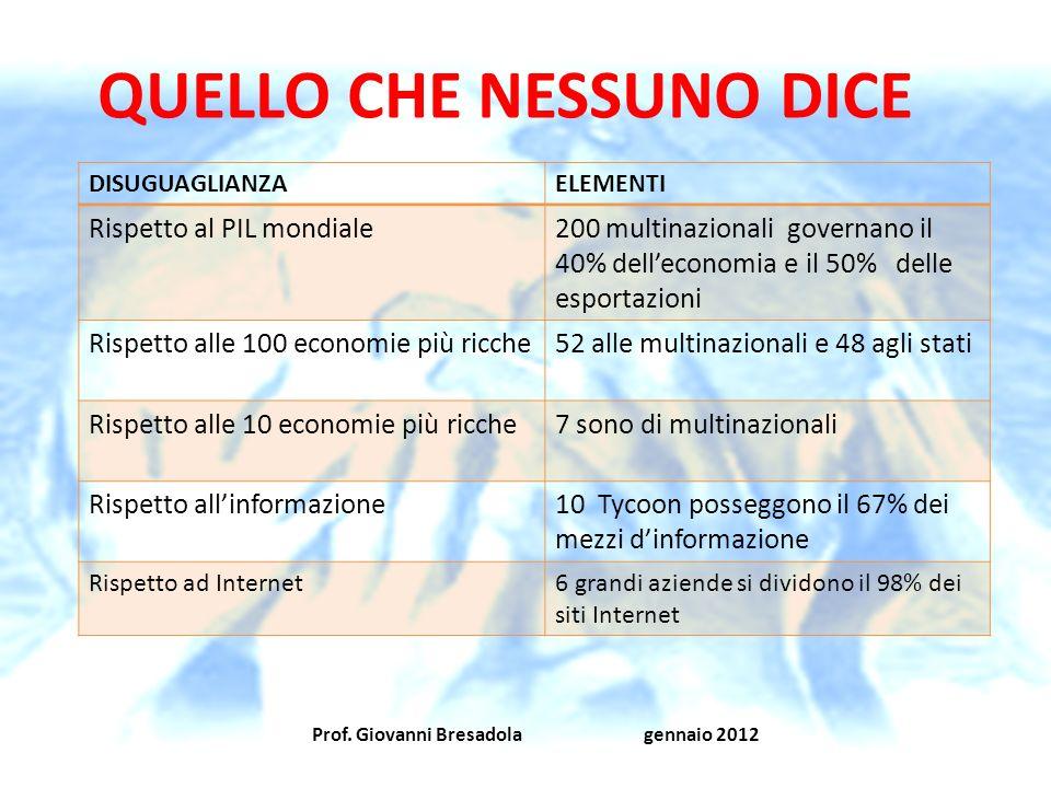Prof. Giovanni Bresadola gennaio 2012 QUELLO CHE NESSUNO DICE DISUGUAGLIANZAELEMENTI Rispetto al PIL mondiale200 multinazionali governano il 40% delle