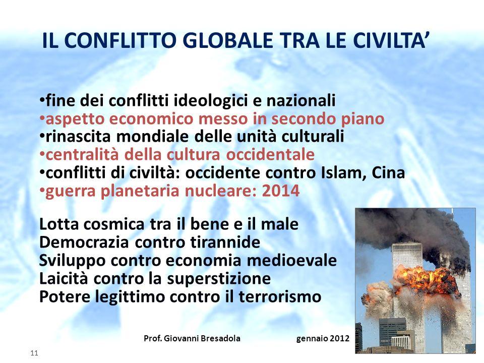 Prof. Giovanni Bresadola gennaio 2012 11 fine dei conflitti ideologici e nazionali aspetto economico messo in secondo piano rinascita mondiale delle u