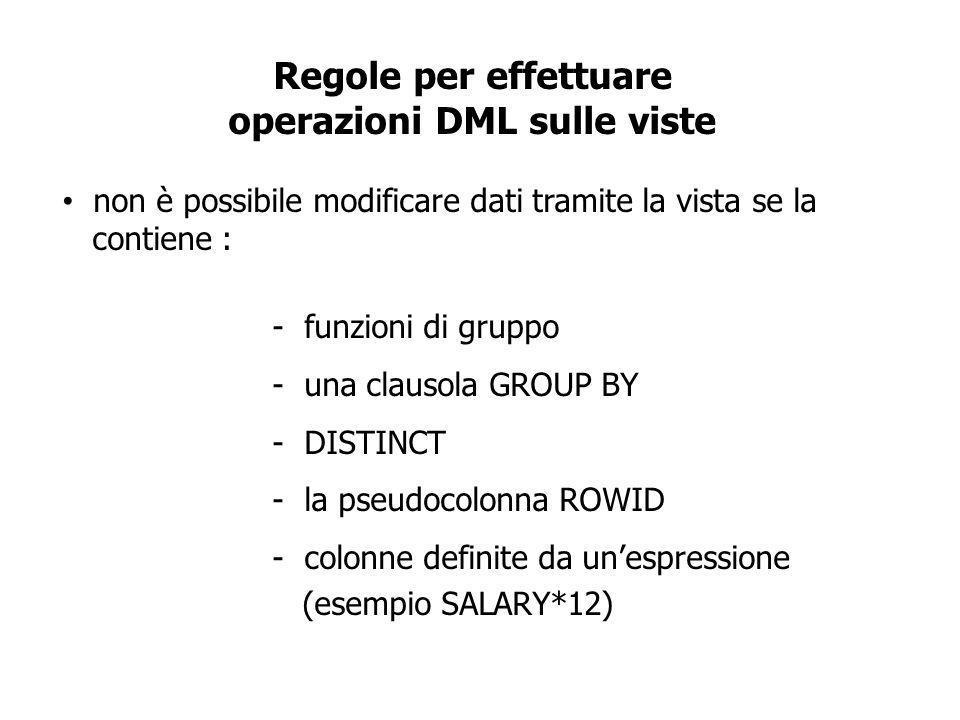 Regole per effettuare operazioni DML sulle viste non è possibile modificare dati tramite la vista se la contiene : - funzioni di gruppo - una clausola GROUP BY - DISTINCT - la pseudocolonna ROWID - colonne definite da unespressione (esempio SALARY*12)