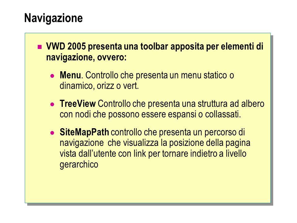 Navigazione VWD 2005 presenta una toolbar apposita per elementi di navigazione, ovvero: Menu. Controllo che presenta un menu statico o dinamico, orizz