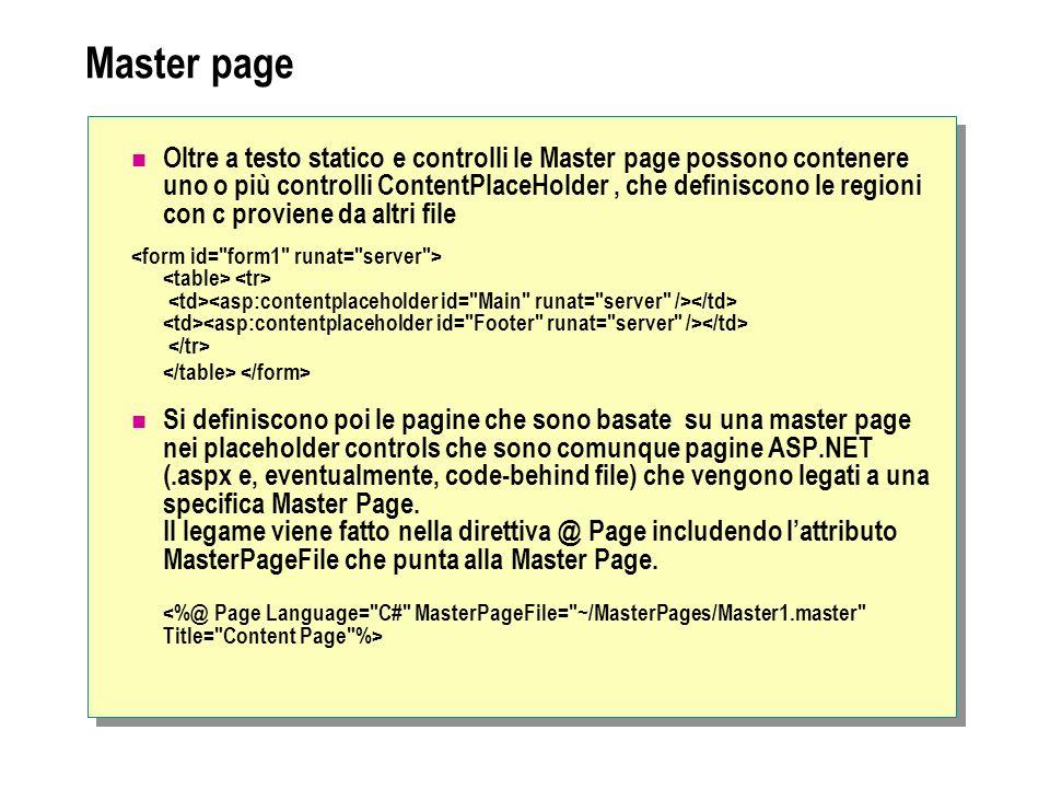 Navigazione TreeView La creazione è simile a quella del menu, come elementi statici o dinamici (basati su site map o file xml) SiteMapPath È necessario che sia presente una site map